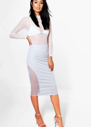 Шикарная юбка-карандаш boohoo с вставками из сетки