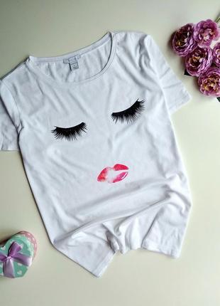Белая футболка amisu с принтом