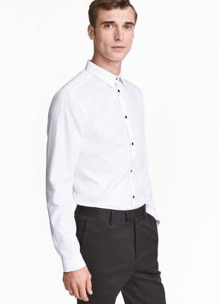 Белая рубашка h&m premium quality, slim fit !