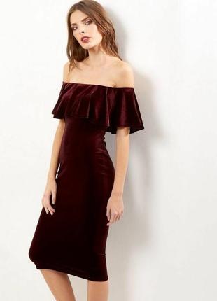 Вечернее красивое бархатное платье на плечи new look /цвет бордо