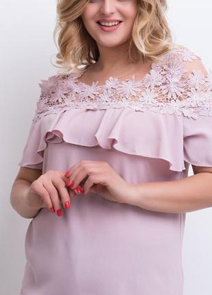 Розовая блуза с ажурным верхом