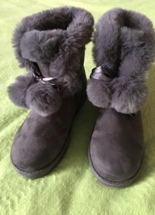 Зимние меховые ботинки из эко-замши