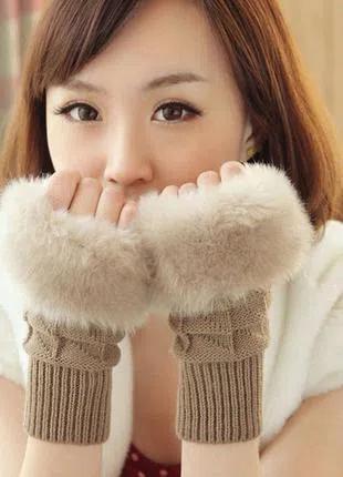 Перчатки без пальцев, митенки