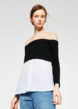 Кофта с рубашкой открыты плечи джемпер zara