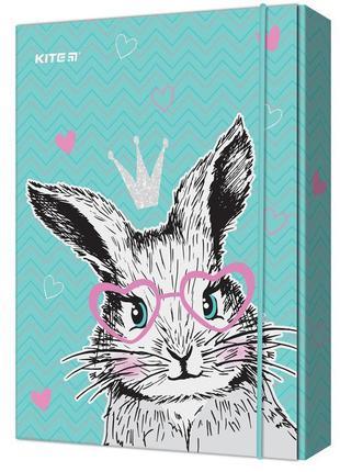 Папка для тетрадей В5 картон на резинке Kite Cute Bunny 3см (K...