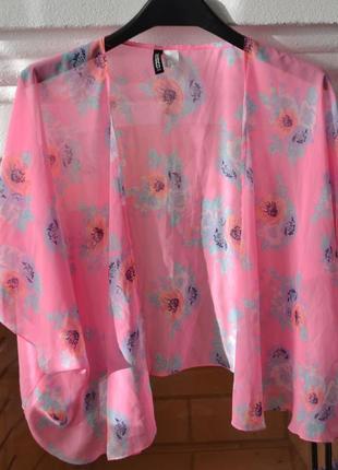 Скидка до 3️⃣1️⃣.0️⃣1️⃣!  розовая пляжная накидка  в цветы от h&m