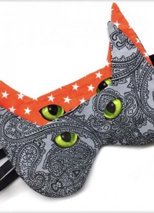 Маска для сна Кот серый зеленоглазый