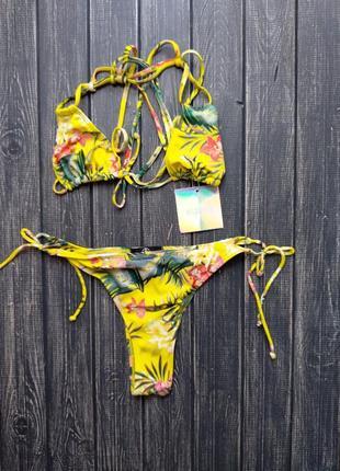 ❄распродажа!❄ купальник на завязках бразилиано в тропический п...