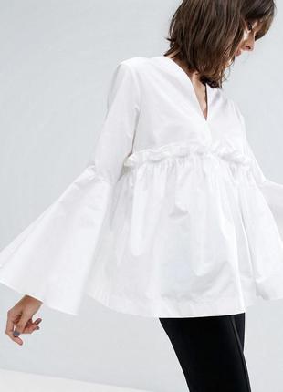 ❄распродажа!❄ белая блуза, рубашка с рукавами-воланами от asos
