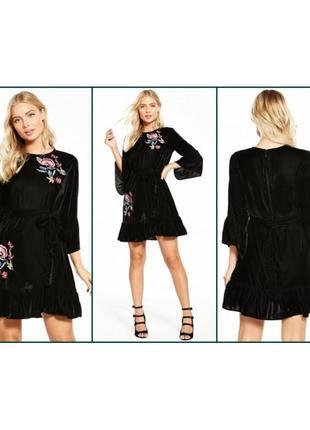 Скидка до 2️⃣9️⃣.0️⃣2️⃣!  черное бархатное платье с вышивкой о...