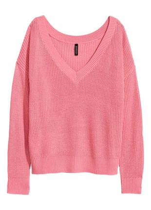 ❄распродажа!❄  свободный розовый вязанный свитер от h&m размер l