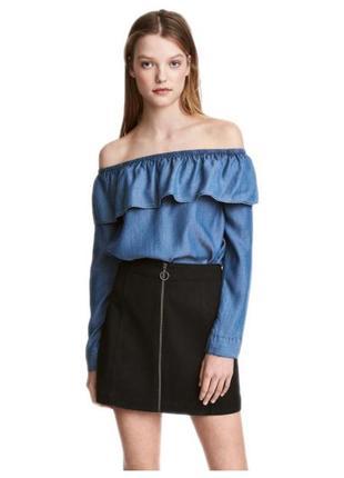 💥только до 11.04!💥 синяя юбка-трапеция на молнии под замшу от h&m