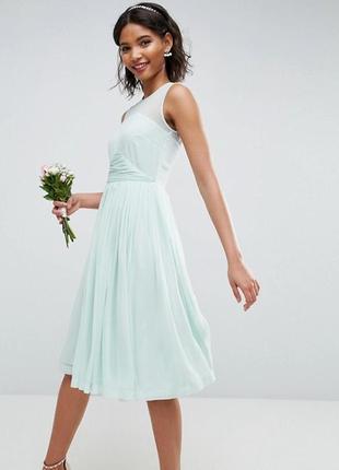 Нежно-голубое шифоновое платье от asos размер 14uk