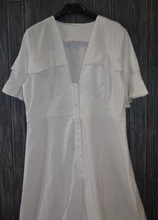 ❄распродажа!❄ белое льняное платье-халат на пуговицах от asos ...