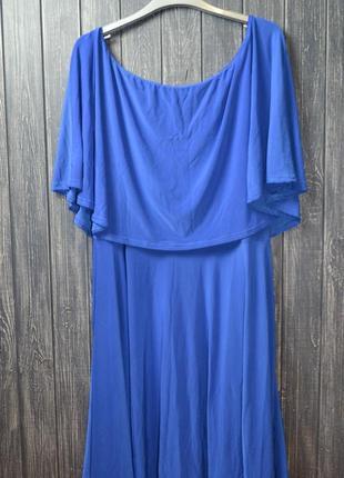 Синее платье с воланом и открытыми плечами размер 28uk