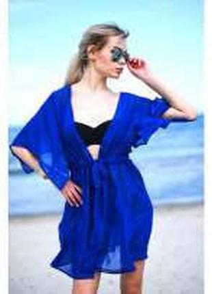 *anna field*сша пляжна туника платье парео цвета индиго,синяя