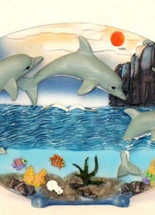 Панно настольное керамическое Дельфины картина декор сувенир п...