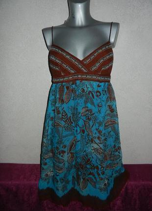 *muse*usa натуральный шелк,нарядный бирюзовый сарафан,платье,ш...