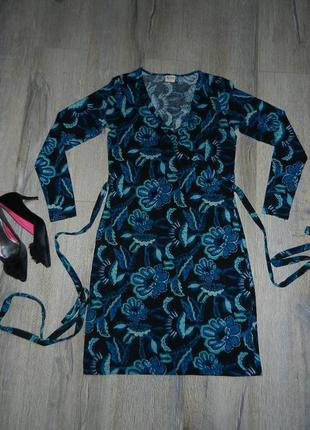 Casual длинное теплое платье в цветах под пояс