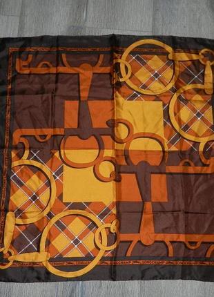 Longchamp,paris,оригинал!коричневый шелковый платок,натуральны...