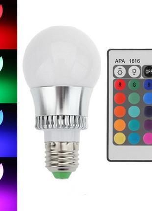 Светодиодная E27 LED RGB 10Вт лампа, 16 цветов с пультом ДУ