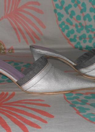 Итальянские серебряные босоножки,натуральная ткань,джинсовые, ...