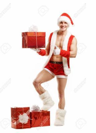 *f&f*мужские трусы для санта клауса,новогодние красные боксеры