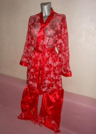 Красная пижама шелк/атлас новая