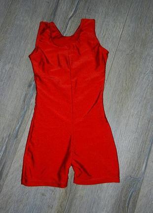 Красный спортивный купальник с шортами,для танцев,для гимнасти...