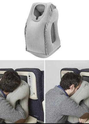 Подушка обнимательная надувная самолетная для путешествий с ге...
