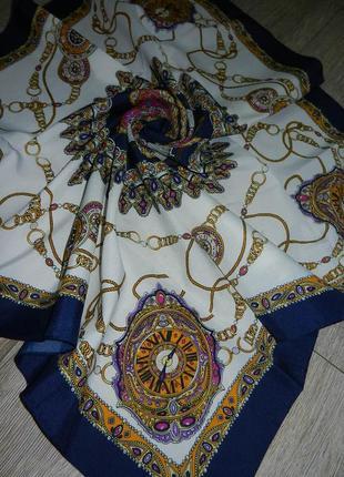 Neckermann,оригинал! большой роскошный белый платок с часами, ...