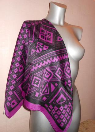 Платок косынка шелк атлас италия! орнамент фиолет