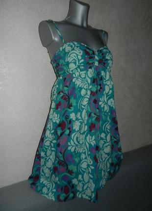 *roxy*платье,бирюзовый сарафан колокол хлопок индия