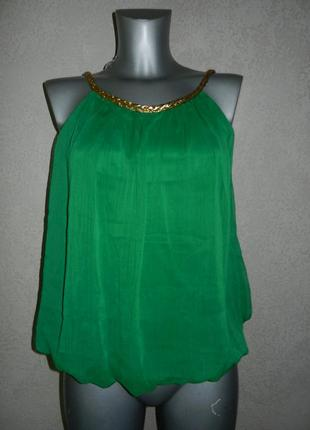 Изумрудная,зеленая шифоновая майка,блуза римлянка новая