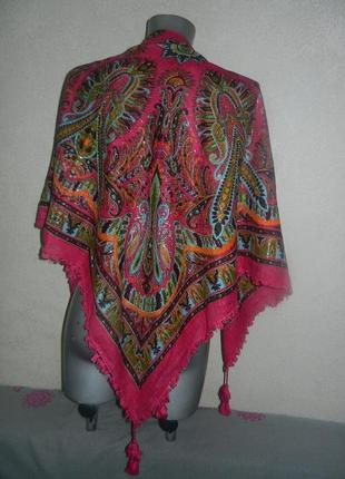 Индия яркий платок палантин шаль с кистями хлопок новый