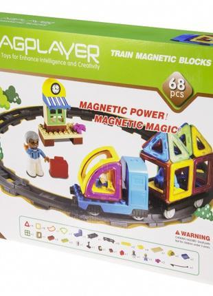 Магнитный конструктор железная дорога, 68 элементов, MagPlayer