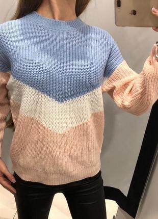 Вязаный свитер колорблок пуловер кофта cropp размер м