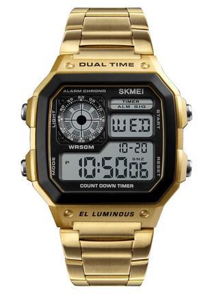 Часы электронные Skmei 1335, золотые с металлическим ремешком,...