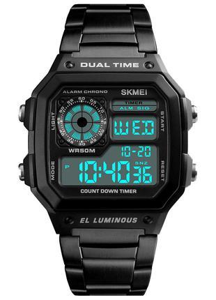 Часы электронные Skmei 1335, черные с металлическим ремешком, ...
