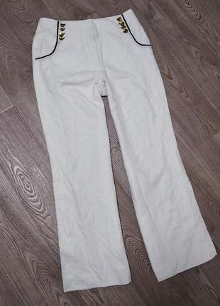 Крутые льняные брюки штаны из натурального льна клеш широкие