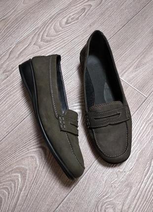Кожаные туфли мокасины топсайдеры из натуральной кожи нубука