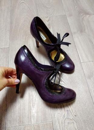 Туфли на шпильке туфельки с бантом фиолетовые