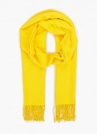 Кашемировый однотонный жёлтый палантин