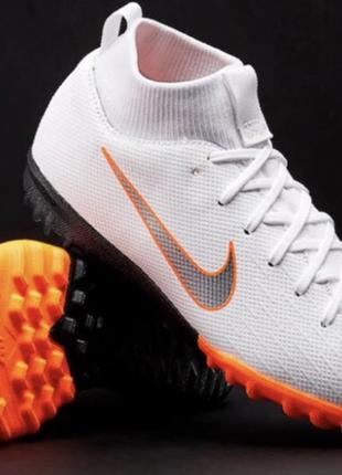 Сороконожки Nike Mercurial Superfly 6 Academy TF - White/Black/Or