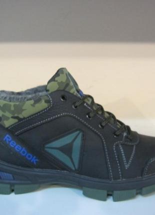 Мужские кожаные зимние ботинки/кроссовки в стиле reebok