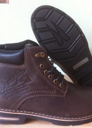 Wrangler супер качество мужские зимние кожаные ботинки  коричн...