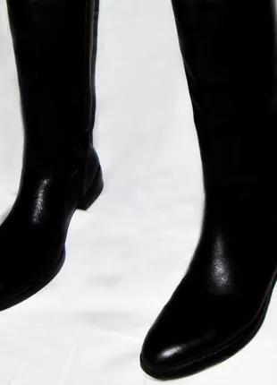 Натуральные кожаные, черные женские сапоги Braska