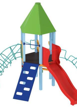Детский игровой развивающий комплекс Башня с пластиковой горко...