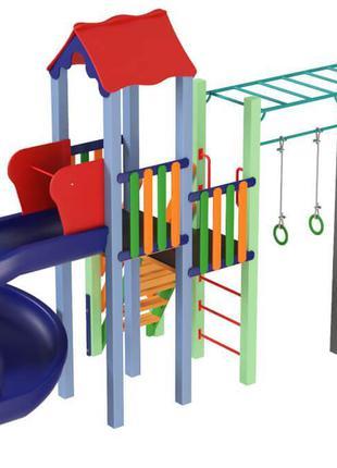 Детский игровой развивающий комплекс Котик с пластиковой горко...