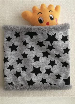 Хомут теплый, зимний, шарф,снуд, на флисе,серый в звезды